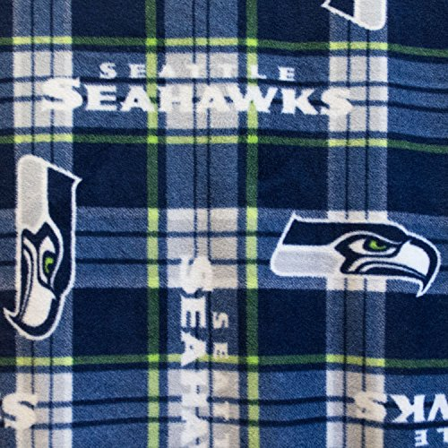 Fleece Print Seattle Seahawks Plaid 58 Inch Wide Fabric by the Yard (F.E.®)