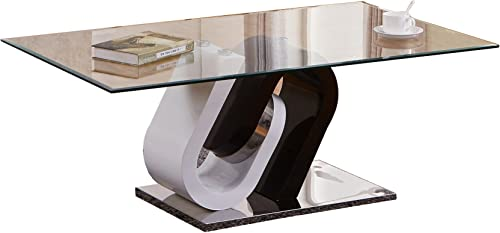 Best Quality Furniture Contemporary Black and White Glass Coffee Table