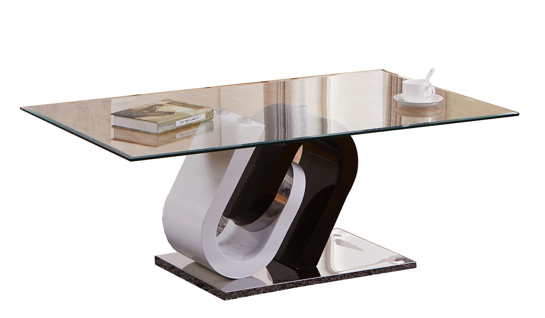 Best Quality Furniture CT507 Contemporary Black and White Glass Coffee Table by Best Quality