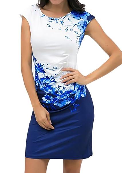 Adelina Mujer Vestidos De Fiesta Cortos Verano Elegantes Vintage Flores Estampado Sin Mangas Cuello Redondo Apretados Bodycon Vestido Vestidos Coctel ...