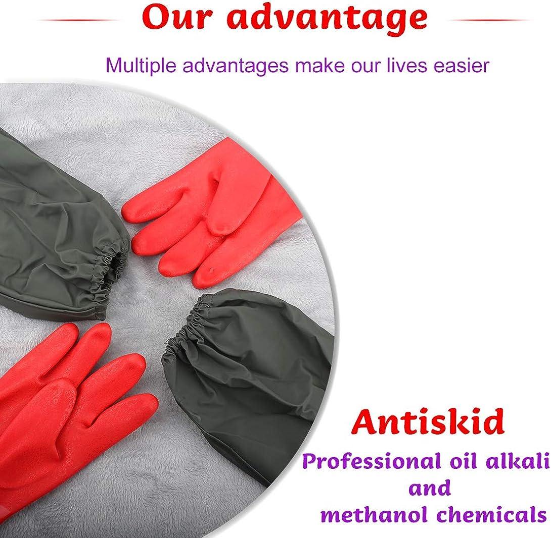para hombre de PVC Dankuo Guantes impermeables para estanque de manga extralarga color rojo