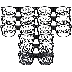 Groom, Best Man, Groomsman Glasses - Party Favours for Bachelor Party & Wedding - Party Sunglasses Kit - Set of 9 Pairs - Themed Novelty Glasses for Ridiculous Fun & Classic Photos (9pc Set, Black)