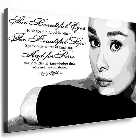 Amazonde Kunst Auf Leinwand Audrey Hepburn Bild Fertig Auf