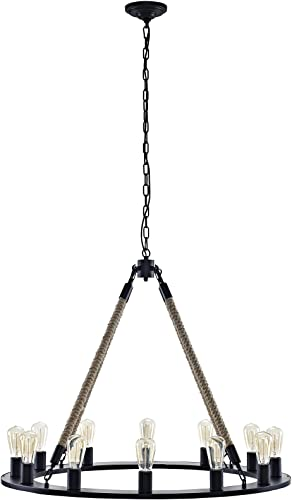 Modway Encircle Rope and Steel Metal 12-Light Pendant Round Chandelier