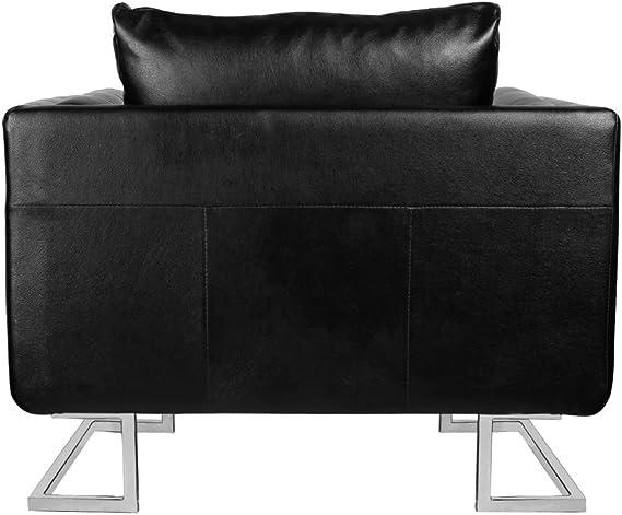 L x P x A Tidyard Poltrona a Cubo con Gambe Cromo e Pelle Artificiale Nera 85,5 x 63 x 74 cm