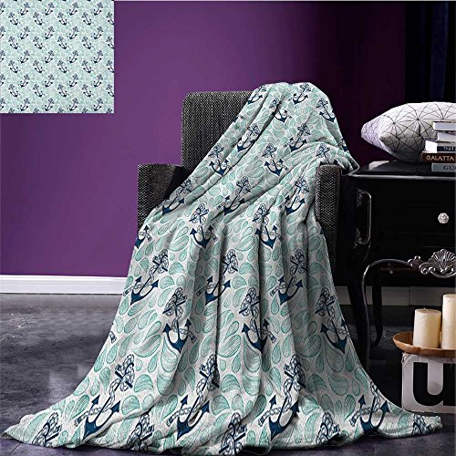 Anchor summer blanket Abstract Water Droplets Anchors with Marine Rope Vintage Wavy Ocean Flannel Mint Green Dark Blue White size:59