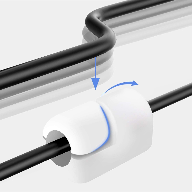 20-teiliger Kabelclip ordentlicher Kabelhalter mit starken selbstklebenden Pads Kabelclips f/ür rundes Kunststoffkabel Kabelorganisator f/ür die Verwaltung von Heim- und B/ürokabeln Transparent