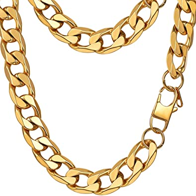 0939dd1b09f8a ... Miami Curb Cuban Link Necklace 18K Gold Plated Stainless Steel 28'' Big  Wide Chunky Long Necklace Hip Hop Chain Men Jewelry Gift: Amazon.in:  Jewellery