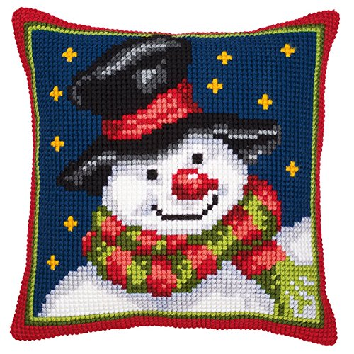 Christmas Snowman chunky cross stitch cushion front kit Vervaco Chunky Cross Stitch