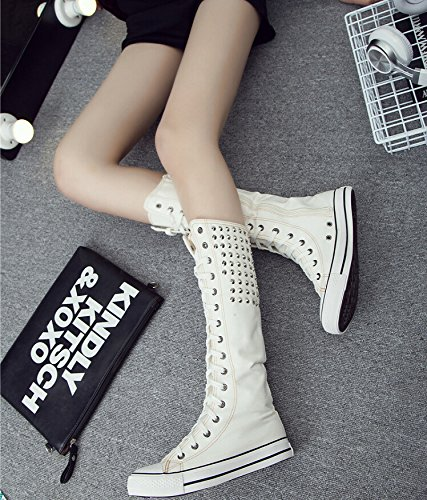 Punk Style Knee High Sneaker Boots Rivet Zipper Lace Up Boots Canvas Shoes Fashion For Women & Girls White txkbLZaXW