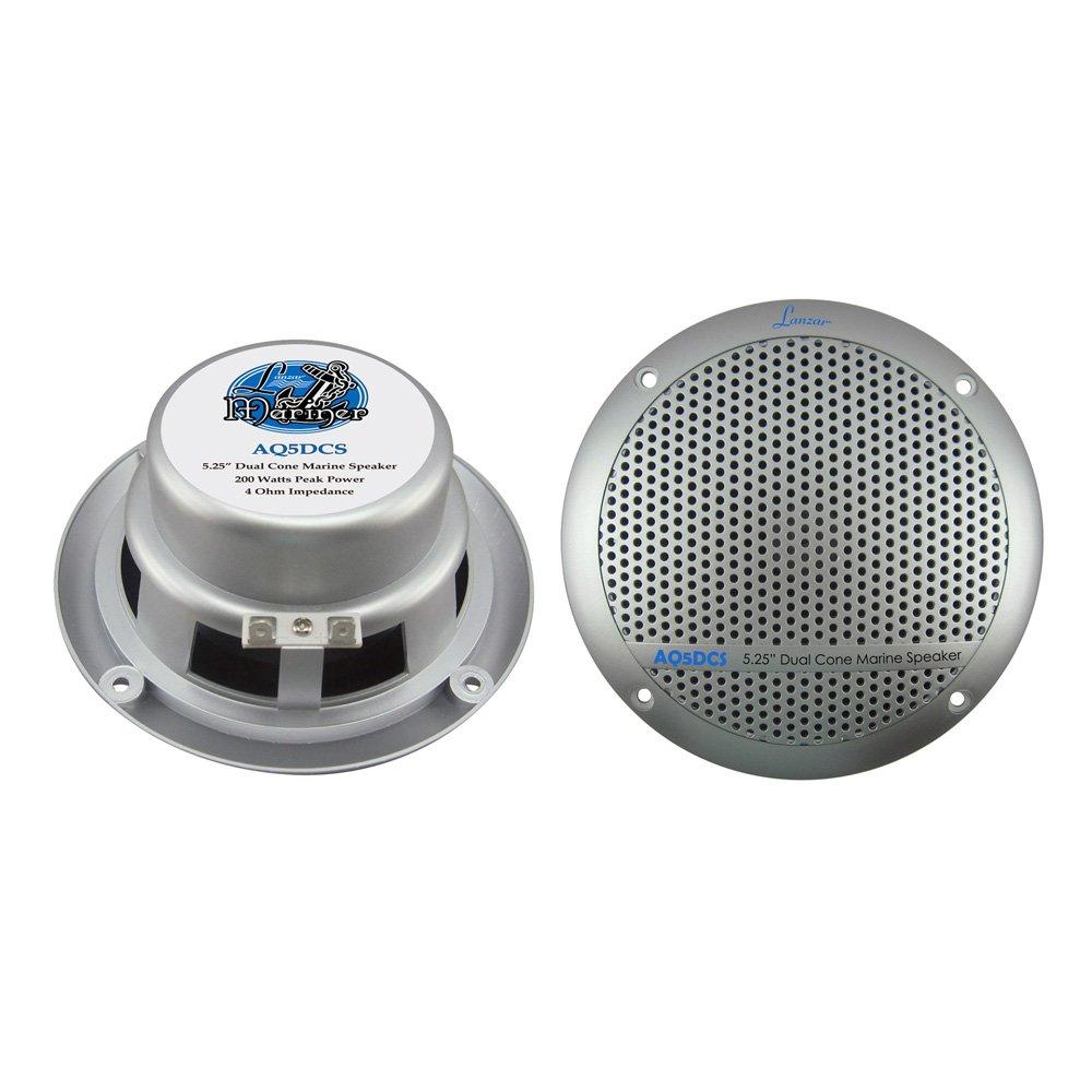 Lanzar AQ5DCS 300W 5.25-Inch Dual Cone Marine Speakers Set of 2, Silver Sound Around