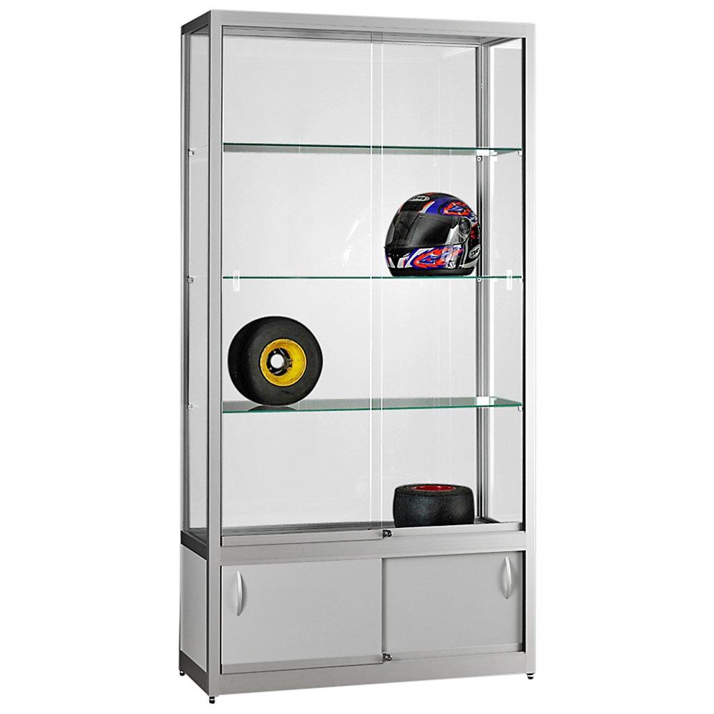 vitrine glasvitrine standvitrine sammlervitrine eco 1000 alu glas abschlie bar mit unterschrank. Black Bedroom Furniture Sets. Home Design Ideas