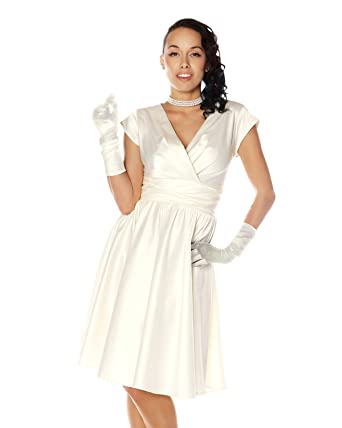 Retrolicious Kristy Dress Retro Vintage Inspired White Satin Pin Up ...