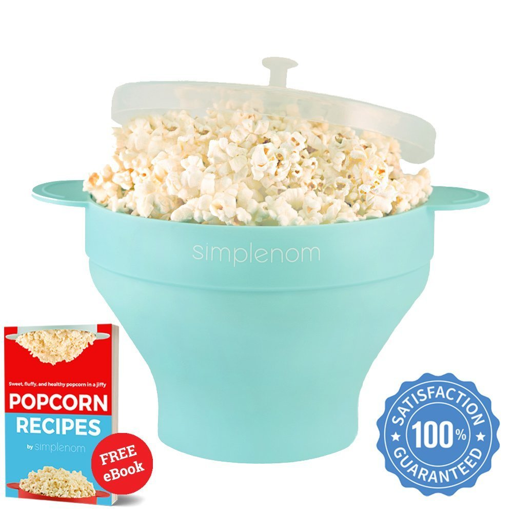 Microwave Popcorn Popper & Popcorn Maker Bowl | Healthy No Oil Theater Taste | Fast, Easy and Quiet | Best Food Grade Silicone FDA Approved & PVC BPA Free | Air Popper Machine, Stovetop, Gift (Blue) Sim COMIN18JU052061