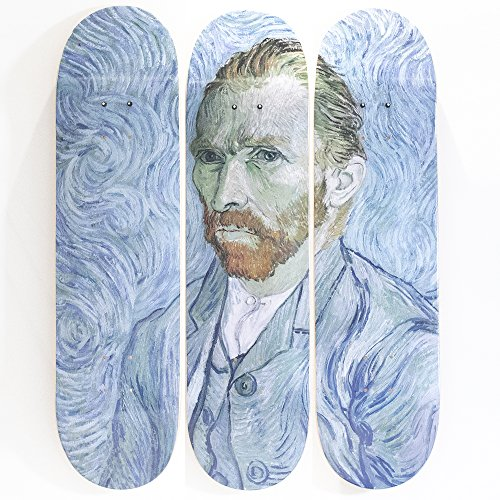 MUSART - Wood Skatebaord Tryptich Wall Art - Wall Decor - Vincent Van Gogh Self Portrait (1889) - Limited Edition of 100-32″H x 8″L x 0.5″W Inches