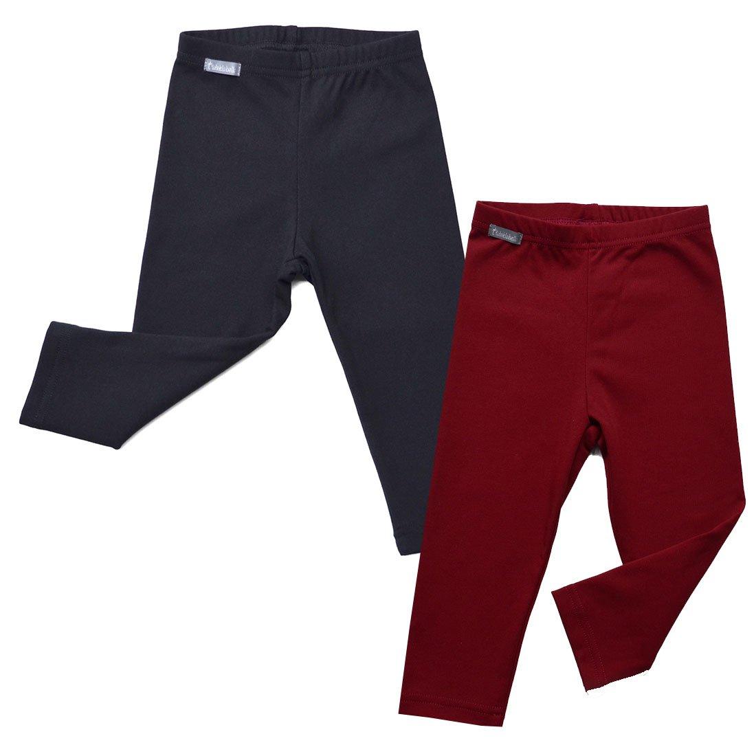 Warm Cozy Unisex Baby Toddler Kids Fall Leggings (2-Pack: Black/Maroon Red -3T) by JAN & JUL