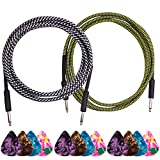 """Guitar Cable, DaKuan 2 Packs 10 Ft Guitar Cable, 1/4"""" Straight Plugs, Premium Electric Instrument Cable, Bass Cable, Free Bonus with 12 Picks - Yellow and White"""