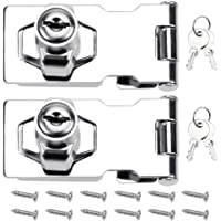 DXLing 2 Pieces Door Bolt Latch Buckle 70mm Door Lock Hasp Chrome Plated with Padlock and Key Hasp Lock Hardware for…