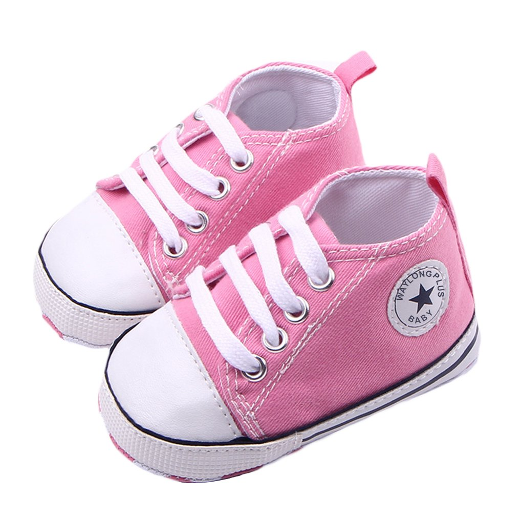 WAYLONGPLUS Infant Cute Canvas Sneaker Toddler Prewalker Anti-skid Soft Trainer Shoes (White, Size 13) BBS04-WH13