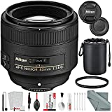 Nikon AF-S NIKKOR 85mm f/1.8G Medium Telephoto Lens and Basic Bundle with Xpix Professional Cleaning Kit