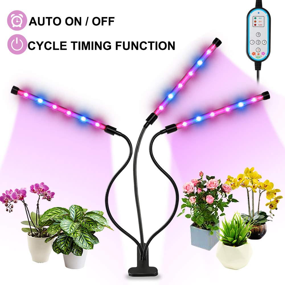 Grow Light, Auto ON Off Every Day 36W Plant Lights for Indoor Plants, Triple Head Grow Lamp with 8 Dimmable Levels, 4 8 12H Memory Timing for Hydroponics Greenhouse Gardening