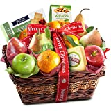 Merry Christmas Fruit Basket with Cheese and Nuts