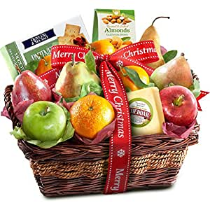 Amazon.com : Merry Christmas Fruit Basket with Cheese and ...