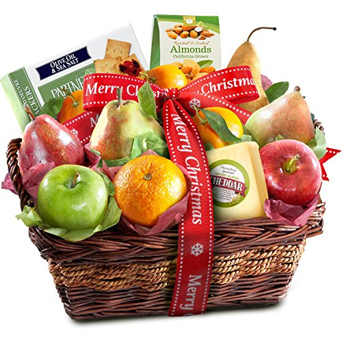 Merry Christmas Fruit Basket with Cheese and Nuts (Most Popular Gift Baskets)