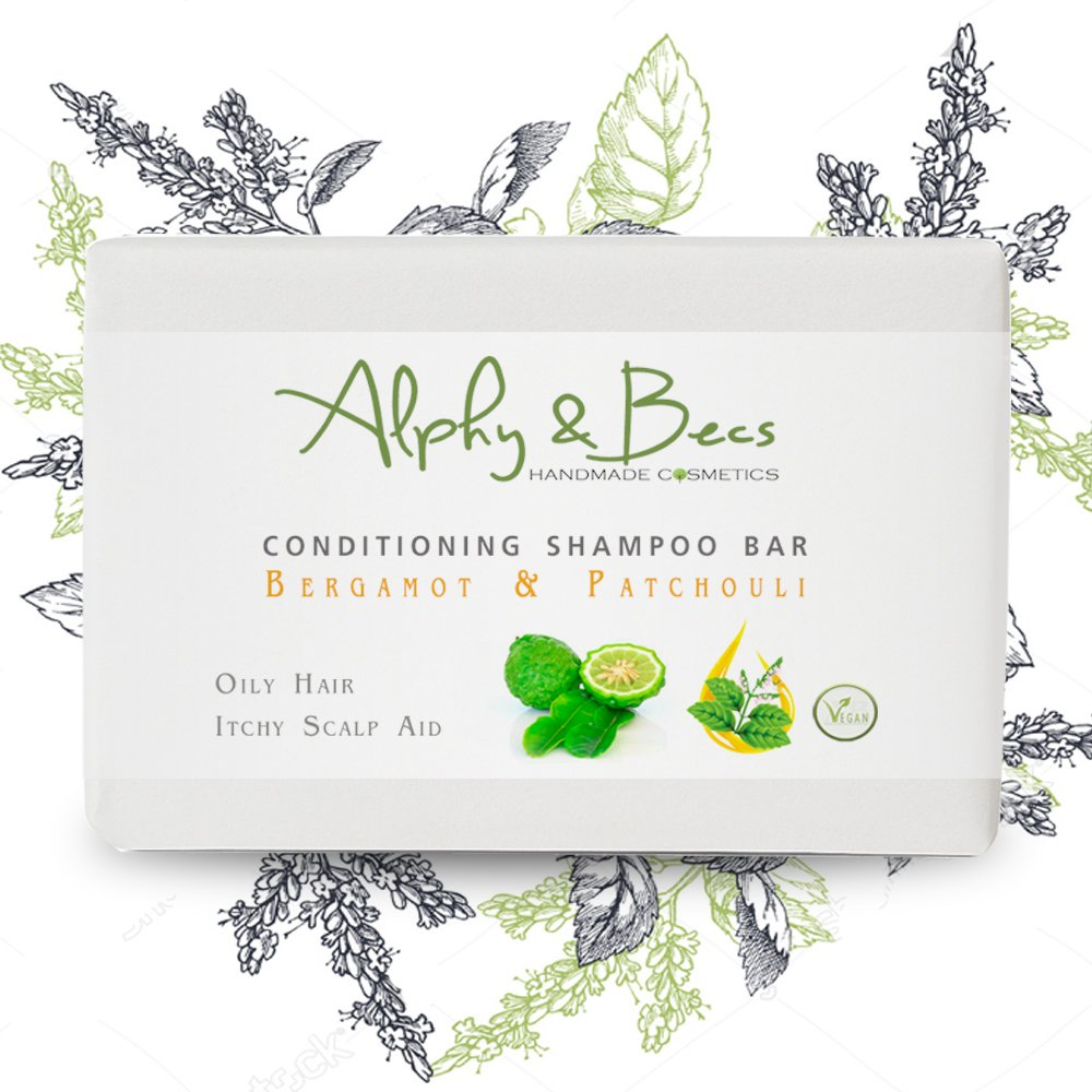 Conditioning Shampoo Bar BERGAMOT & PATCHOULI - With Coconut Milk & Shea Butter Alphy & Becs