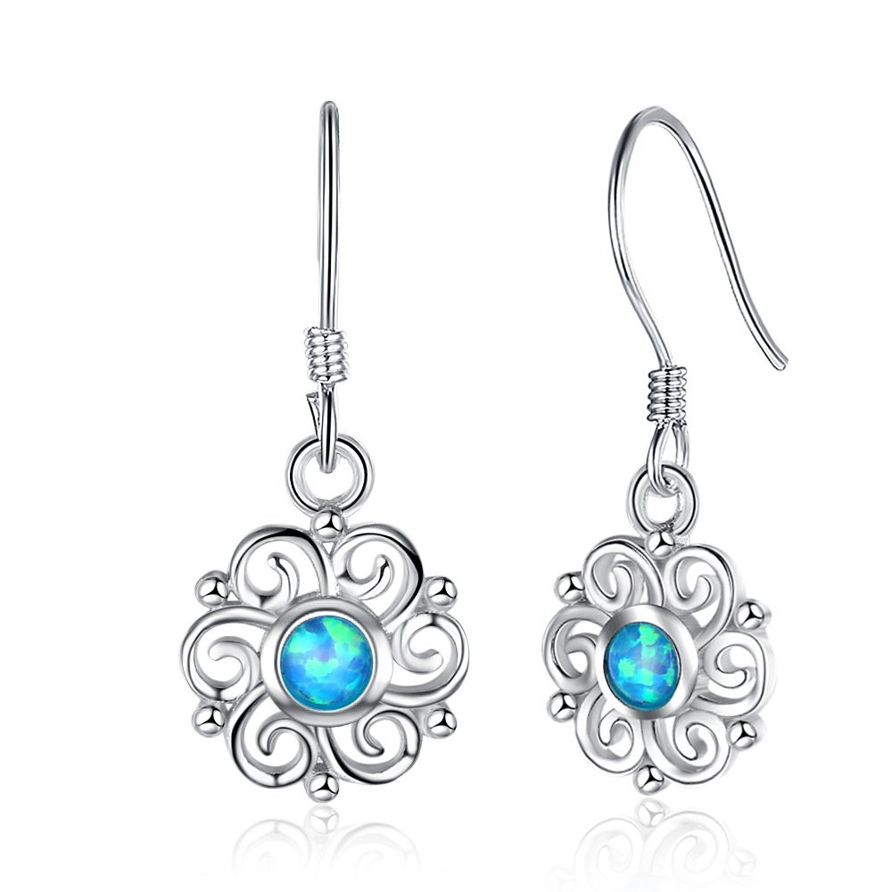 Opal Flower Earrings,925 Sterling Silver Simulated Genuine Gemstone Celtic Open Knot Dangle Earrings
