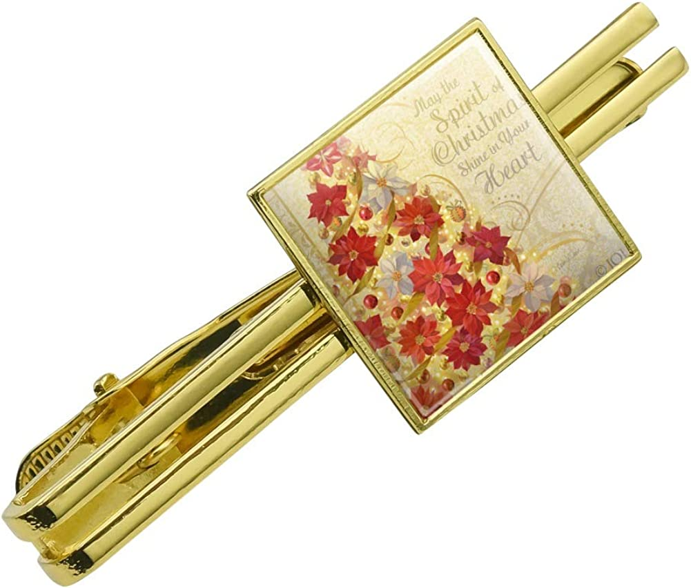 GRAPHICS /& MORE Christmas Holiday Tree Spirit Shine in Your Heart Square Tie Bar Clip Clasp Tack Silver or Gold