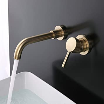 Brushed Gold Bathroom Dual Handles Vessel Sink Faucet Mixer Tap Wall Mount Brass