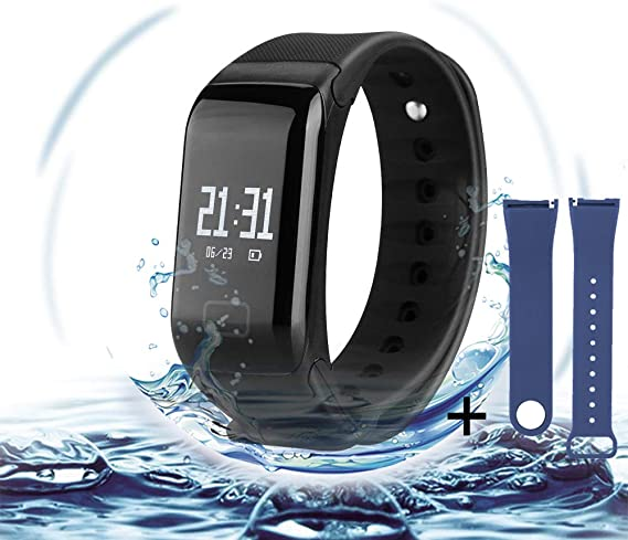 L8star Fitness Tracker with Replacement Band Bluetooth Smart Wristband Bracelet Heart Rate Monitor Call Remind Wireless Pedometer Activity Tracker for ...