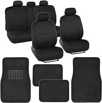 Amazon Com Bdk Classic Full Set Mesh Cloth Polyester Solid Black Car Seat Covers Carpet Floor Mats Automotive