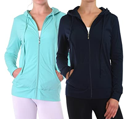 Lightweight Cotton Full Zip Up Pullover Sweatshirt Hoodies (2 Pack ...
