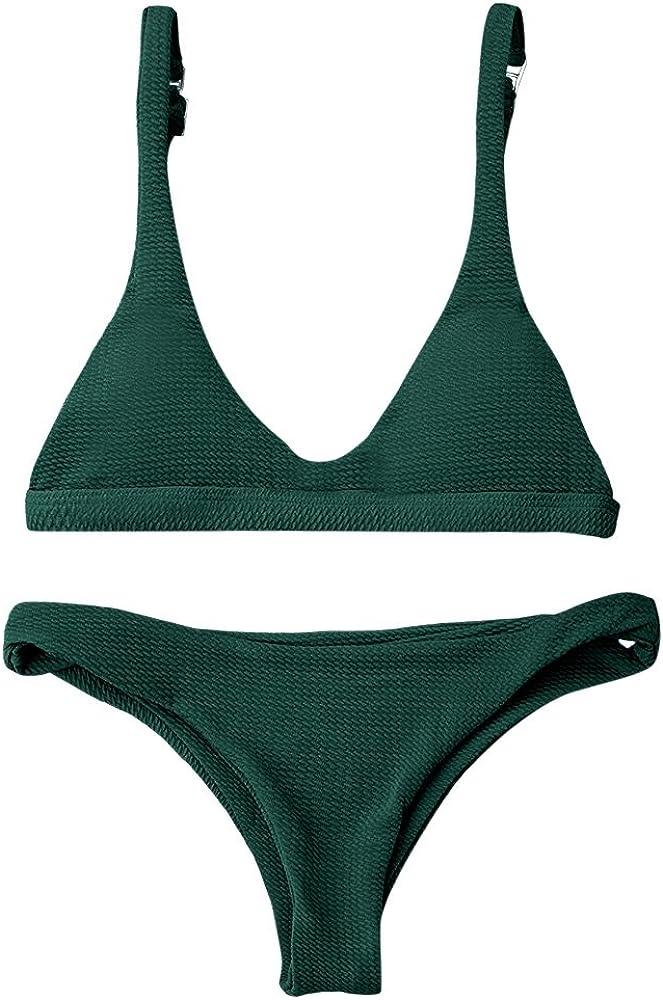 ZAFUL Women Padded Scoop Neck 2 Pieces Push Up Swimsuit Revealing Thong Bikinis V Bottom Style Brazilian Bottom Bra Sets