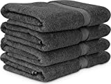 600 GSM Luxury Cotton Bath Towels (4 Pack, 27 x 54 Inch) by Utopia Towels (Grey)