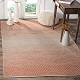 Safavieh Montauk Collection MTK601D Handmade Flatweave Orange and Ivory Cotton Area Rug (5' x 8')