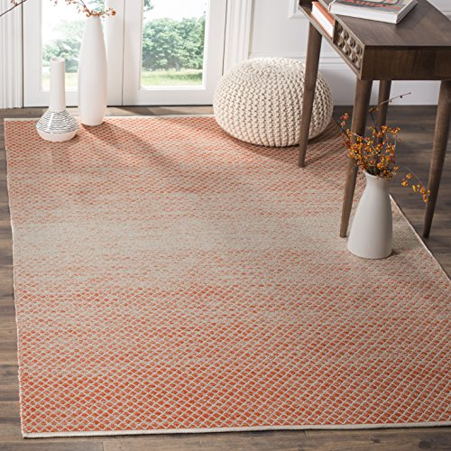 Safavieh Montauk Collection MTK601D Handmade Flatweave Orange and Ivory Cotton Area Rug (4' x 6')