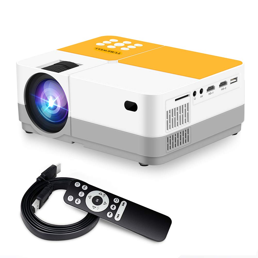 TUREWELL H3 Projector Video Projector 3600 Lumens Native 720P LCD Mini Projector 180'' 55000 Hours Support 2K HDMI/VGA/AV/USB/SD Card/Headphone Compatible with Fire TV Stick/Home Theater/PS4 by TUREWELL