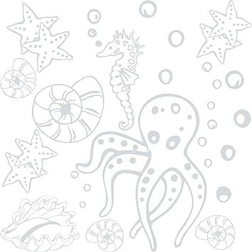 GRAZDesign Wasserfeste Fliesen Aufkleber Unterwasser Welt - Wandsticker  Muscheln und Seesterne - Wandtattoo Bad Badezimmer WC Set mit vielen Meeres  ...