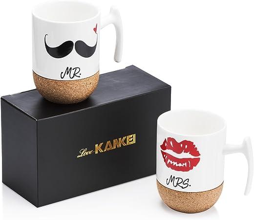 Love Kankei Mr Mrs Tasses à Café En Porcelaine Avec Le Siège En Bois 300 Ml Cadeau De Noël Mariage Couple Ou Anniversaire