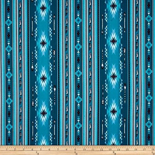 Elizabeth's Studio Native Spirit Arrow Feather Stripe Turquoise Fabric by The Yard