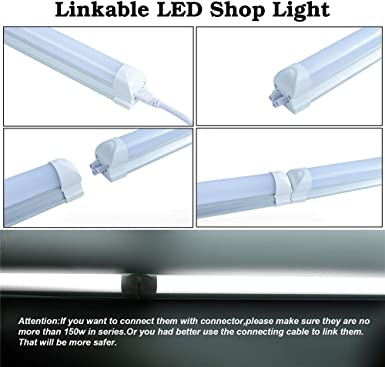24 Pack T8 4FT 24W LED Integrated Tube Light Fixture,Shop Light with ON//Off Switch Power Line,Utility Linkable Lighting,Daylight White 6000K,4 Foot Single Strip Indoor Connectable Lamp,Clear Cover