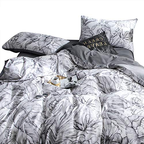 Wake In Cloud - Floral Duvet Cover Set, Cotton Sateen Bedding, Tropical Monstera Banana Tree and Palm Tree Plant Leaves Pattern Printed in Black White Gray Grey (3pcs, Queen Size) (Palm Pattern Tree)