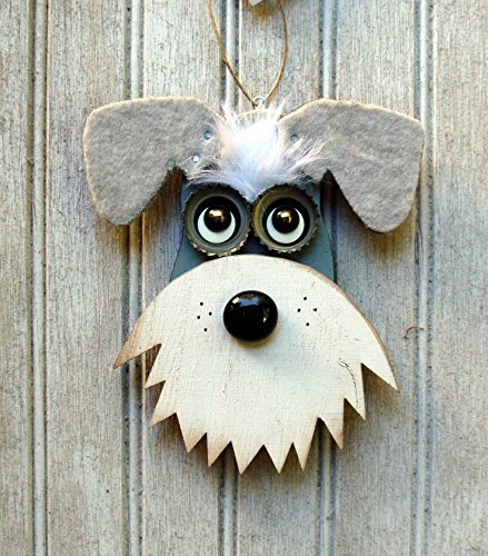 Schnauzer Dog Ornament, Recycled Hand Made Ornament Gray and White Schnauzer dog Reclaimed Wood