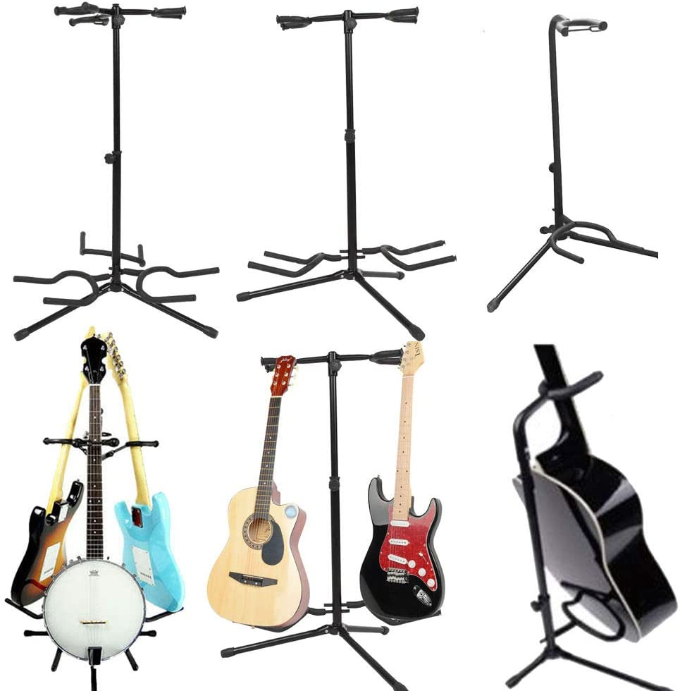 Eyesonme Holder 3 Acoustic Electric Bass Guitar U Stand Black 3 holders