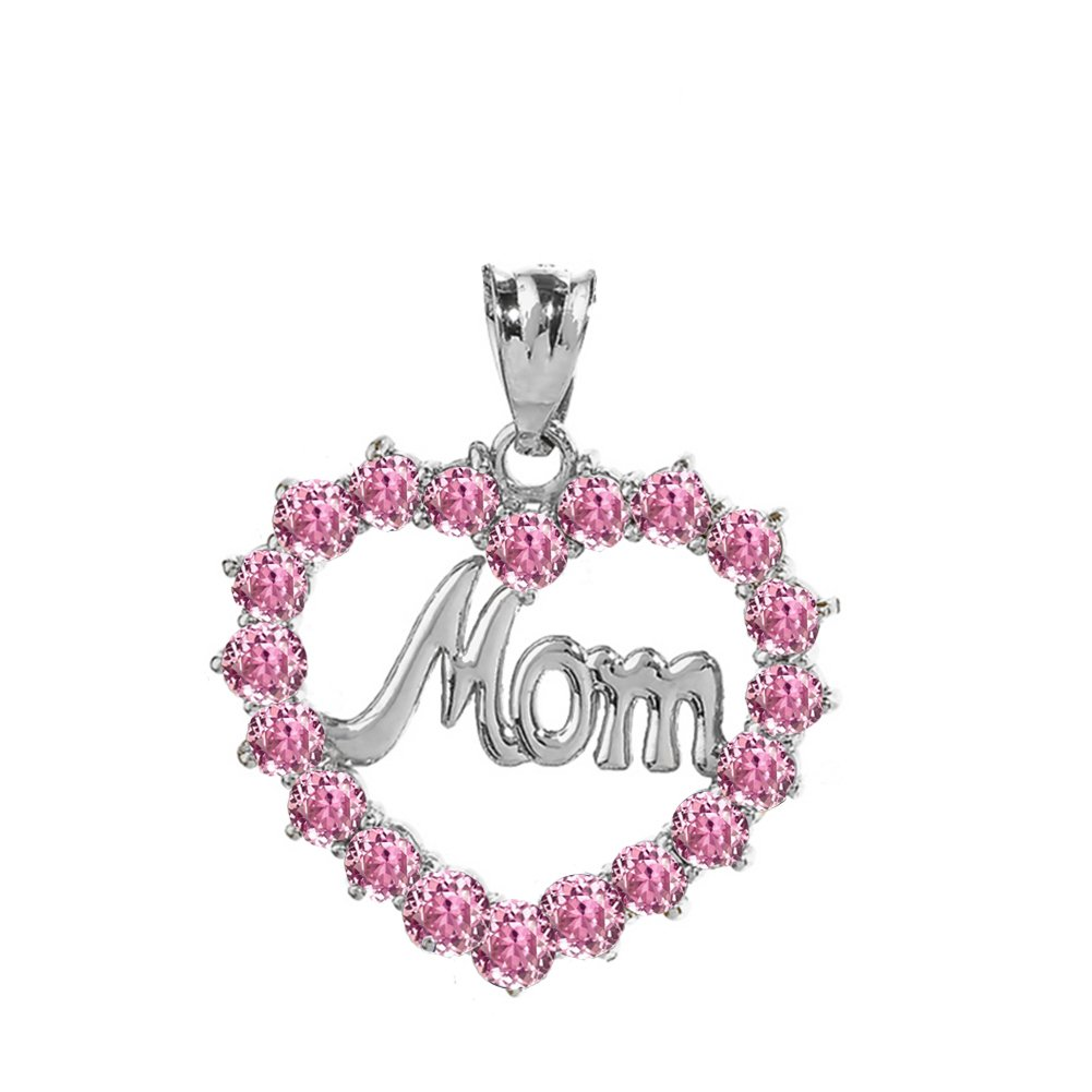 Dazzling Sterling Silver MOM Open Heart Pink October Birthstone Pendant Necklace