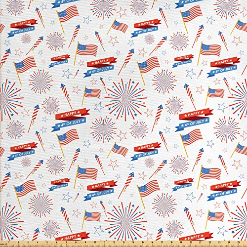 Ambesonne 4th of July Fabric by The Yard, Patriotic Festive July Holiday with American Celebration Flags and Rockets, Decorative Fabric for Upholstery and Home Accents, 2 Yards, Multicolor