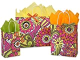 Pack Of 125, Assortment Floral Doodle Garden Recycled Shopping Bag 50 Rose (5-1/4'' x 3-1/2'' x 8-1/4''), 50 Cub (8-1/4'' x 4-3/4'' x 10-1/2''), 25 Vogue (16'' x 6'' x 12-1/2'') Made In USA